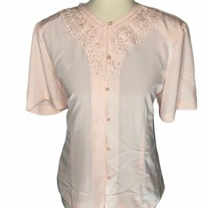 Vintage embroidered silky blouse